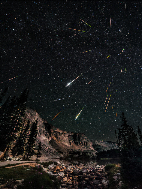 ikenbot:  7 Hours of Perseids Image: David Kingham The Perseids are a prolific meteor shower associated with the comet Swift-Tuttle. The Perseids are so-called because the point from which they appear to come, called the radiant, lies in the constellation Perseus. The name derives in part from the word Perseides (Περσείδες), a term found in Greek mythology referring to the sons of Perseus. The stream of debris is called the Perseid cloud and stretches along the orbit of the comet Swift-Tuttle. The cloud consists of particles ejected by the comet as it travels on its 130-year orbit. Most of the dust in the cloud today is around a thousand years old. However, there is also a relatively young filament of dust in the stream that was pulled off the comet in 1862. The rate of meteors originating from this filament is much higher than for the older part of the stream. —[**]