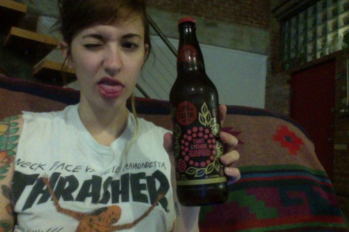 yumyumcult:  sometimes you buy alcohol because the bottle is pretty and then you keep it in the door of the fridge (where things go to be forgotten) and then you find it again! party hard doodz.  The coolest girl in Texas.