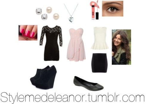 stylemedeleanor:  So for the Birthday Dinner El would probably wear one of the three outfits with one of the shoes. With small studs ( diamond or pearls) and  small pendant necklace, She would do her make up with some eyeliner and mascara, keeping the rest of the face natural looking and a peach lip gloss. Her hair would be the normal curls and for a pop on the nails a hot pink! xxJill   Rare London ruffle dress, $70 / Bodycon dress / River Island peplum top, $39 / H&M short skirt, $4.66 / AX Paris wedge booties, $61 / Call it SPRING ballerina flat, $31 / Links of London chain jewelry / Juliet & Company stud earrings / Crystal jewelry / Bare Escentuals lip gloss