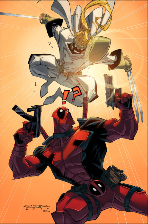 fumettimarvel:  comic-books:  Deadpool vs Shatterstar illustration for Wizard World Chicago by Khary Randolph. August, 2009.  ,  No me mola demasiado el estilo, pero sigue siendo Forever Reblog