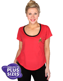 Star Trek Uhura Tee at HerUniverse.com Honor this iconic female character and show that you're an expert at communicating in this super soft and flattering costume top! Turn this top into a costume or style it as an everyday outfit and you can inspire others to Boldly Go where no one has gone before. 50% poly 50% cotton loose fit dolman tee. S-XXL $28, 3XL $30, 4XL $32