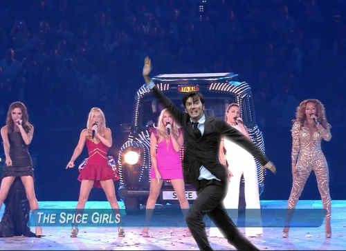 The Spice Girls performing at the London 2012 Closing Ceremony featuring David Tennant. David you're not supposed to be there. you were supposed to carry the torch!