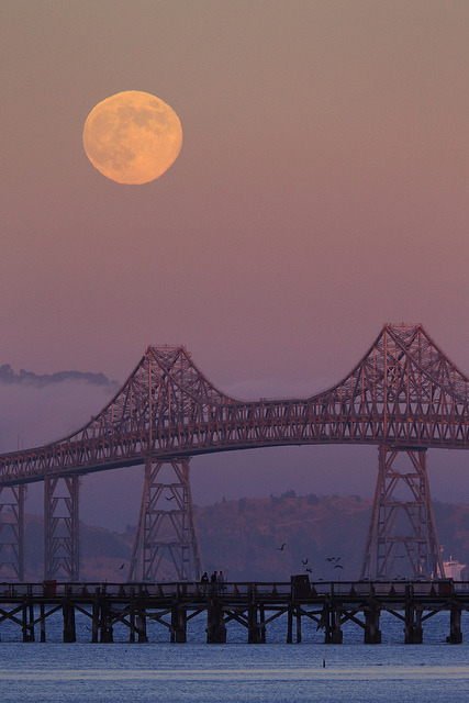 Moonrise at the Richmond San Rafael Bridge - 1 by fksr on Flickr.