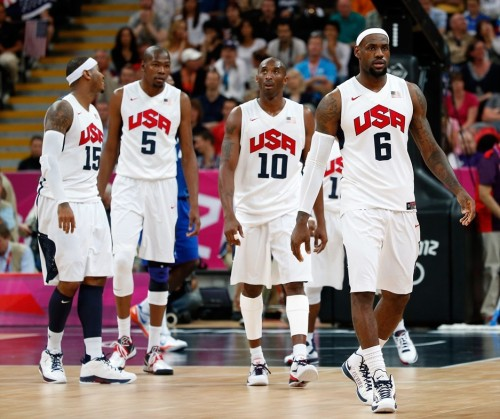 USA 98 - FRANCE 71 (July 29, 2012) Carmelo Anthony, Kevin Durant, Kobe Bryant and LeBron James [Image Source: NBC Olympics; Photographer: Jamie Squire/Getty Images; Box Score]