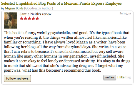 Jamie Neith re selected unpublished blog posts of a mexican panda express employee