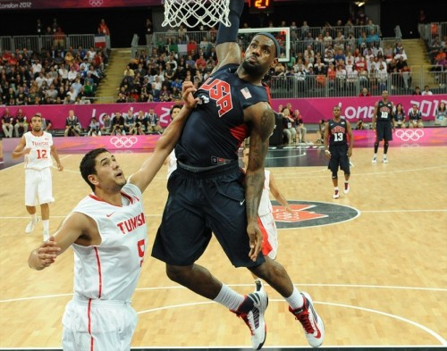 USA 110 - TUNISIA 63 (July 31, 2012) LeBron James, Team USA [Image Source: NBC Olympics; Photographer: Mark Ralston/Getty Images; Box Score]