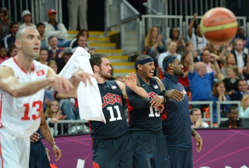 USA 110 - TUNISIA 63 (July 31, 2012) Love, 'Melo & LeBron react to Andre Iguodala's putback dunk (video) [Image Source: NBC Olympics; Photographer: Timothy A. Clary/Getty Images; Box Score]