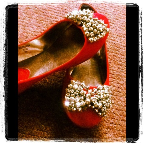 #flat #shoes #cinderella #red #dollshoes #silver #ribbon #style #design #fashion for #ladies #sophisticated #petite #rustylopez  (Taken with Instagram)