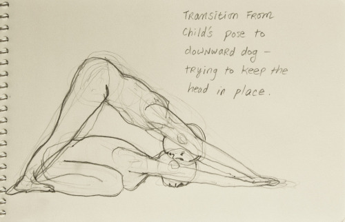 When transitioning from child's pose (balasana) to downdog (adho mukha svanasana), try keeping the head in the same location without moving it forward.  The back will feel a good stretch.