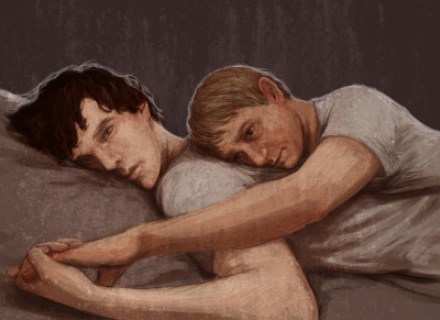 "sherlockedart:  They didn't talk, because John didn't talk anymore. He spoke, yes, but didn't talk.     When Sherlock returned after two years, John opened the door and blinked, once, twice, the muscles of his jaw tight.      ""John,"" Sherlock said, and if his voice was unsteady, John wasn't. His posture and shoulders rigid, John pressed the door open wider and turned to go back into his meticulously tidy bedsit.     ""Tea?"" He asked, not waiting for Sherlock to answer before flipping on the electric kettle. He sat on the edge of the bed to wait for the water to boil while Sherlock  wandered unmoored around the room. When Sherlock began to talk, explaining why, explaining how, John watched him, listened, nodded, but his face remained a study in tight suppression.     When Sherlock finished, John said, ""Okay,"" and handed him a mug of tea. If Sherlock's chin crinkled slightly, if he blinked in rapid succession, John didn't mention it.     They sat in silence until Sherlock had emptied his mug. He put it carefully on the desk and stood to leave.    ""Baker Street?"" he asked.    For a long moment John didn't reply, didn't move at all, but eventually he turned his face up towards Sherlock. ""When?""    ""A week, I think. I'll ask Ms Hudson. ""     John nodded, a small motion, almost imperceptible to someone other than Sherlock, and Sherlock felt relief unfurling in him with such abruptness that he had to grab the back of the chair in order to remain standing. ""Good,"" he said, ""good.""    In the end it took nine days, the previous tenants being unwilling to move, but Baker Street was theirs again. During the interim Sherlock didn't see John, but he texted him. He learned that John would not reply to general statements, but he would answer questions, so Sherlock texted endless questions. Questions he already knew the answer to. Anything, just to hear the soft ping and see John's name on his mobile.     The first night, Sherlock heard John pacing in his room, the sliver of light beneath the door visible until nearly sunrise.     The second, John fell asleep just after dinner, and Sherlock spent the evening alone. When Sherlock woke at four in the morning he found John sitting on the bottom step of the stairs, so he made two mugs of tea and sat there with him until John needed to dress for work.    The tenth night, Sherlock heard a small shuffling noise and put down his laptop. When he opened the door he found John curled against his bedroom doorframe, his left cheek and ear slightly pinker than his right. Sherlock realized he had been listening, face pressed against the door. John didn't look embarrassed; he looked the same as always, blank, hemmed in, carefully, fearfully composed.     Sherlock no longer closed his bedroom door. Ever.    On the fourteenth night Sherlock woke from vivid, tangled dreams to the silhouette of John sitting on the end of his bed, facing away from him. ""John,"" he said, his voice rough with sleep. ""Here."" He pulled back the duvet on the empty side of the bed. John was still for several minutes, but in the end he settled himself in Sherlock's bed and faced the wall. Neither of them slept.    The next night John didn't make any attempt to sleep in his room. He came down the stairs in his pyjamas and curled up in Sherlock's bed while Sherlock played the violin in the living room. When the last note faded into the muffled sounds of London at night Sherlock put the violin down and joined John.    He didn't realize he'd fallen asleep, hadn't imagined that he could, but he woke at two and knew without opening his eyes that John was behind him, propped up and leaning over him, his breathing slightly uneven. Sherlock kept still, kept his body relaxed, even when a hand brushed lightly down his back, even when John pressed the side of his face against the dip between Sherlock's shoulder blades.     They stayed like that for several long minutes, all of Sherlock's attention focused on the slight shift of John as the sharp tension of his body softened against Sherlock's back. Sherlock reached one arm behind him and caught John's hand, pulling it forwards and threading his fingers through John's.     ""Sherlock,"" John said then, and if his voice was thick and wavering it was still better than the study in emptiness it had been.     ""Here, John. I'm here. I won't leave you again. I promise.""    And if John talked to him, face pressed to his back, his words of loss and pain and fear burning in the darkness, then Sherlock was silent, imagining each broken syllable rising from them like embers, bright and hot and fading to cool gray ash. If John cried then, if he clenched Sherlock's hand until Sherlock could no longer feel his fingers, then Sherlock let him. And when the ragged edges of his breathing smoothed into the rhythms of sleep, Sherlock smiled.     Around them the currents of London shifted, above them the sky pooled with clouds, but they lay still on one side of a big bed, curled together, two halves, dark and fair, brain and heart."