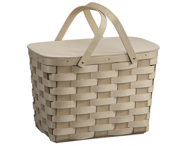 Woven Picnic Basket made of Appalachian white ash with a laminated birchwood top from Crate & Barrel.