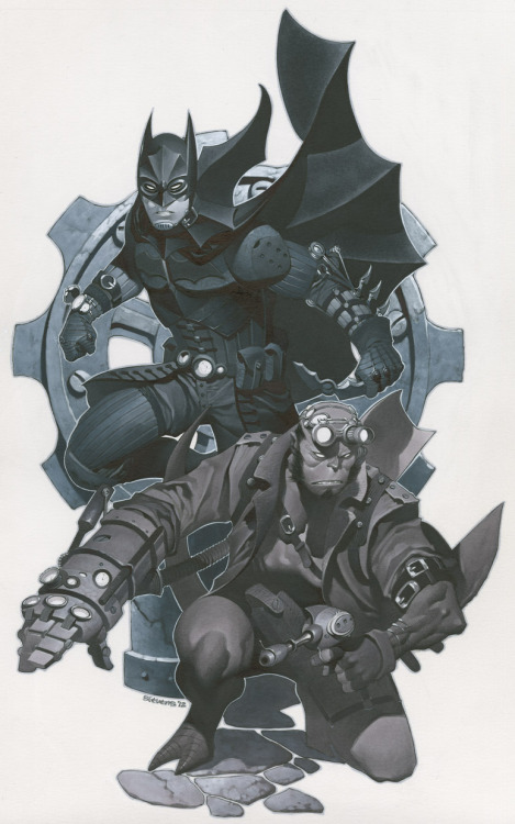 noahbodie:  Steampunk'd Batman and Hellboy request from Chris Stevens
