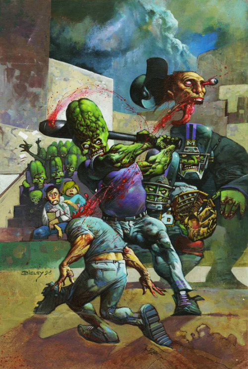 11200:  Simon Bisley Original cover art for Mars Attacks Baseball Special