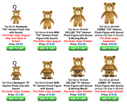 TED will come in PG & R rated plush bears & toys