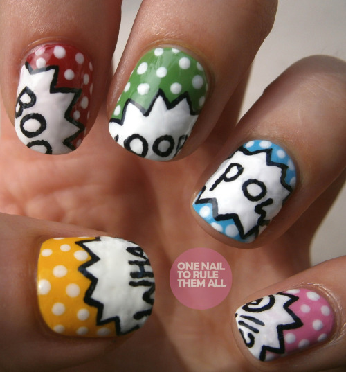 onenailtorulethemall:  Day 27: Inspired by artwork. Pop art nails! Read more on my blog