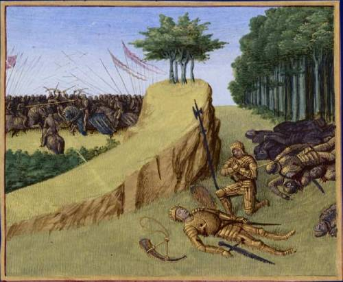 Bataille de Roncevaux en 778. Mort de Roland Grandes Chroniques de France, enluminées par Jean Fouquet, Tours, vers 1455-1460 Paris, BnF, département des Manuscrits, Français 6465, fol. 113 (Cinquième Livre de Charlemagne). Bataille de Roncevaux en 778 (en arrière-plan à gauche) : Au retour de l'expédition d'Espagne, l'arrière-garde de l'armée de Charlemagne, conduite par Roland, est attaquée par les sarrasins dans la vallée de Roncevaux. Mort de Roland : Le neveu de Charlemagne, Roland, comte de la Marche de Bretagne, gît sur l'herbe. Auprès de lui, son frère Baudouin se lamente avant de prendre l'olifant et l'épée Durandal de Roland pour les porter à l'empereur. @credits  The Song of Roland (French: La Chanson de Roland) is a heroic poem based on the Battle of Roncesvalles in 778, during the reign of Charlemagne. It is the oldest surviving major work of French literature. It exists in various manuscript versions which testify to its enormous and enduring popularity in the 12th to 14th centuries. The oldest of these is the Oxford manuscript which contains a text of some 4004 lines (the number varies slightly in different modern editions) and is usually dated to the middle of the twelfth century (between 1140 and 1170). The epic poem is the first and most outstanding example of the chanson de geste, a literary form that flourished between the eleventh and fifteenth centuries and celebrated the legendary deeds of a hero. The Battle of Roncevaux Pass was a battle in 778 in which Roland, prefect of the Breton March and commander of the rear guard of Charlemagne's army, was defeated by the Basques. It was fought at Roncevaux Pass, a high mountain pass in the Pyrenees on the border between France and Spain. Over the years, the battle was romanticized by oral tradition into a major conflict between Christians and Muslims, when in fact both sides in the battle were Christian.