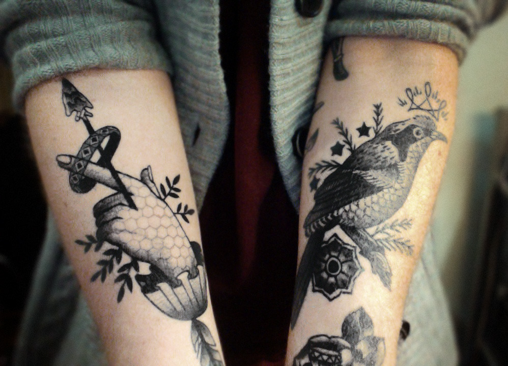owls-love-tea:  vimandvigour:  My wrists, by the talented Stefan Sinclair of Two Hands Tattoo in Auckland. There is a little of Bugsy's rose showing, and a tiny foot of my lovely boxing gent from Jess Swaffer showing too.  Oh Mister Holliday, I cannot stop looking at them. So beautiful <3 x