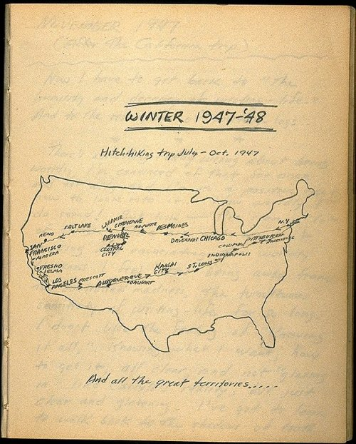 explore-blog:  Jack Kerouac's hand-drawn cross-country road trip map from On the Road. Also see On the Road visualized as language structures.