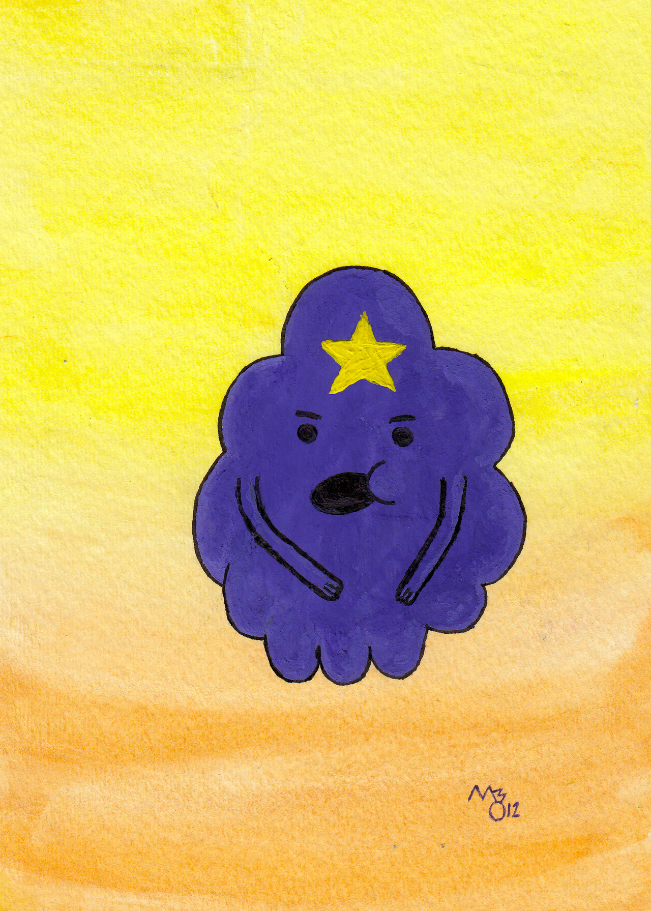 """Oh My Glob!"" - Lumpy Space Princess - Watercolor, Ink ——————————— I can just hear LSP now, ""Oh my glob! I hope you think I'm pretty. I mean I probably don't think you're pretty but still."""