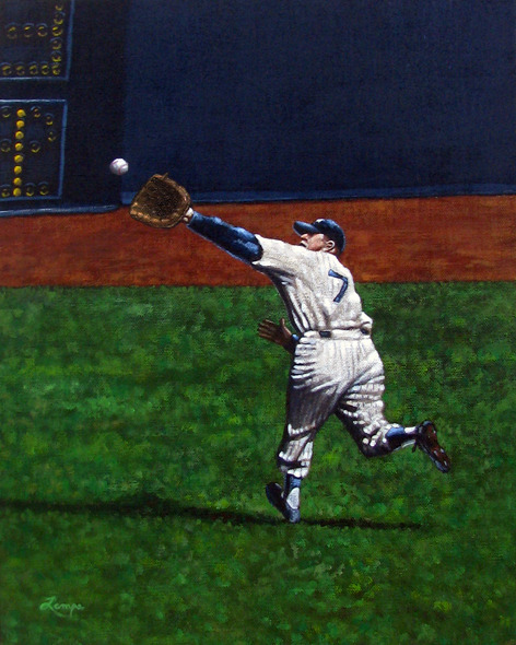 In Game 5 of the 1956 World Series, Gil Hodges led off the top of the fifth inning for the Dodgers.  On a 2-2 count, Hodges hit a scorching line drive to deep left center field.  Mickey took off at top speed running  back and to is right toward left center field.  In the middle of his gait, just as the ball was about to sail past him, he reached up across his body and speared the ball backhanded for a tremendous running catch, which robbed Hodges of an extra-base hit and preserved Larsen's perfect game.