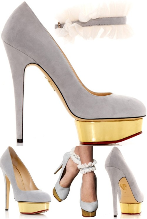 billidollarbaby:  Charlotte Olympia Dolly pump in light grey ($795)