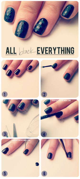 modcloth:  Another lovely nail tutorial from the beauty department! I really love black nails, because they look sleek and go with most looks. I love this matted black polish with adorable polka dots. Well done! (via the beauty department) <3 Amy, ModStylist Need styling suggestions, trend tips, or dress details? Ask a ModStylist and your question might be featured on our feed!  Love the glossy on the matte!