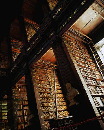 bookmania:  Trinity College Library Dublin, Republic of Ireland. Trinity College Library is the largest of the Cambridge college libraries with a total bookstock of some 300,000 volumes.