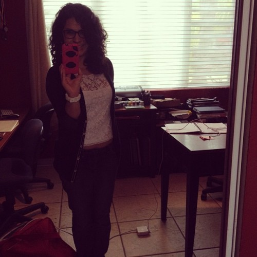 Curly and Preppy #curls #sweater #jeans #denim #glasses #girly #smile #curlygirl (Taken with Instagram)