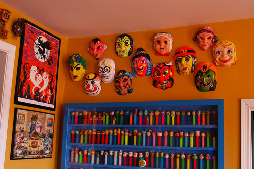 Awesome retro Halloween masks displayed by Heidi Kenney.