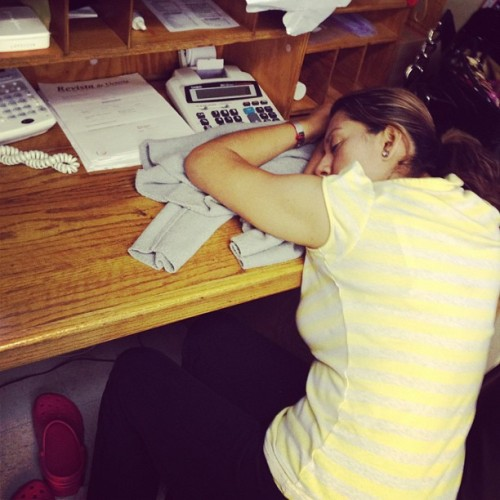 I just realized my mom knocked out while doing paper work..  (Taken with Instagram)