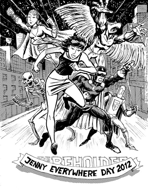 This is a piece by Paul Hoppe with the cast of his Jenny Everywhere webcomic Tales to Behold. Be sure to check it out.