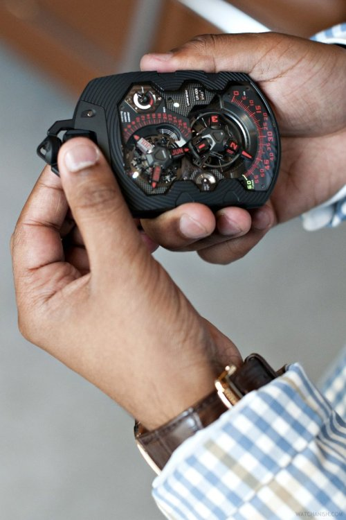 watchanish:  Zoned… The unique £500,000 solid platinum Urwerk UR-1001 Zeitdevice pocket watch and a blazer I picked up in madrid :)