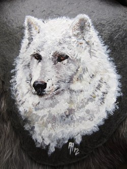 White wolf - Acrylic on Slate - 2012