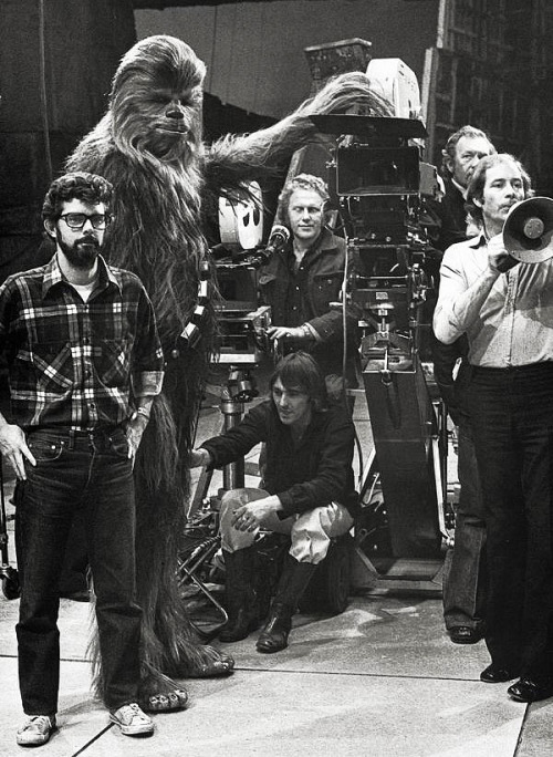 George Lucas on the set of Star Wars (1977)