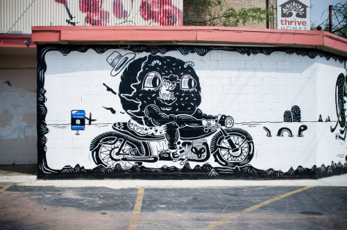 Gnarly donut motorcycle by Sheryo in Kirkwood, Atlanta for Living Walls Atlanta Aug 2012  Photo by Wil Hughes