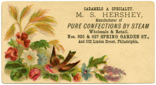 "~ M. S. Hershey, Manufacturer of Confections, Philadelphia, Pa., c. 1879-1882via Flickr""Manufacturer of Pure Confections By Steam"""