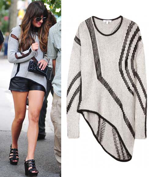 Lea Michele has lunch in New York on Saturday in a Helmut Lang Textured Intarsia Knit Pullover ($480) and a Chanel wallet