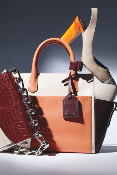 Reed Krakoff 's new collection  From left: Reed Krakoff's alligator and metal-trim bag, leather tote and leather slingback pump.