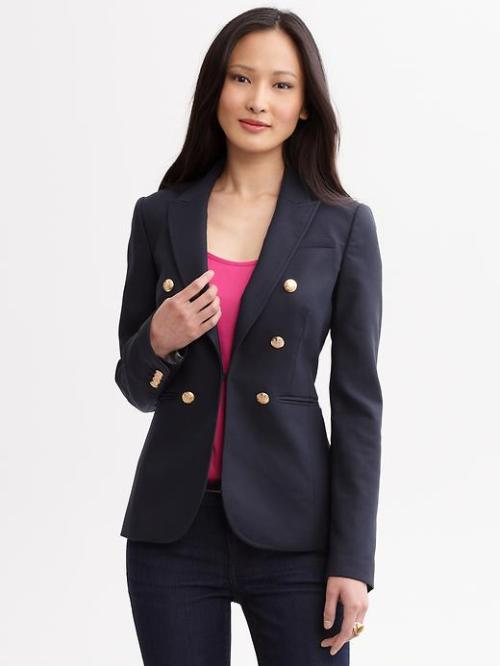 Navy Double Breasted Blazer, $104, Banana Republic (with code SPECIAL20) If you love Kate Middleton's navy Smythe Blazer (which retails for $695), you'll love Banana Republic's look-for-less version of this classic style. If you're looking for something even more budget-friendly, check out this Webster for Target blazer for only $35.