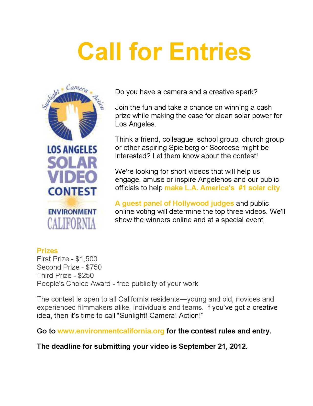 Inspire Los Angeles to go green!  Submit your film about solar power to the Los Angeles Solar Video Contest by September 21, 2012.