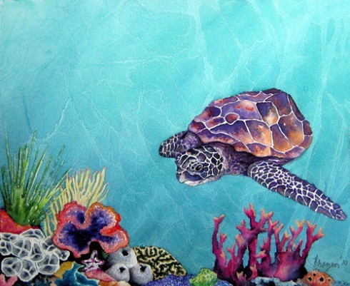 Sea turtle watercolor painting (via Portfolio)