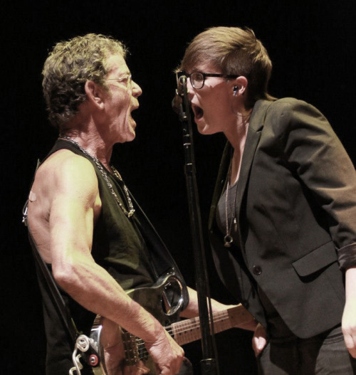 "allisonweiss:  Me + Lou Reed in London last Saturday. Photo by Mark Williams. ""His voice is gruff, almost conversational…. and he is perfectly complemented by the rich backing vocals of Allison Weiss."" - Telegraph.co.uk  LOOK at this epic shit.  That's MY DAUGHTER with a ROCK AND ROLL HALL OF FAMER ON STAGE IN LONDON."