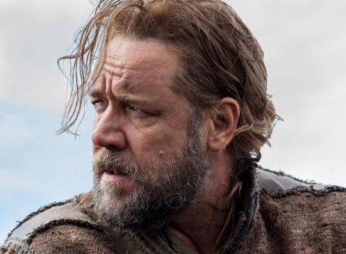 First look at Russell Crowe as Noah Here's a first look at Russell Crowe as he'll appear in Darren Aronofsky's Noah. I can't wait til the part where he forgets to bring unicorns on the boat. Oh, and the part where leopards eat the pair of rabbits and Noah has to turn the boat around. Hilarity! Via