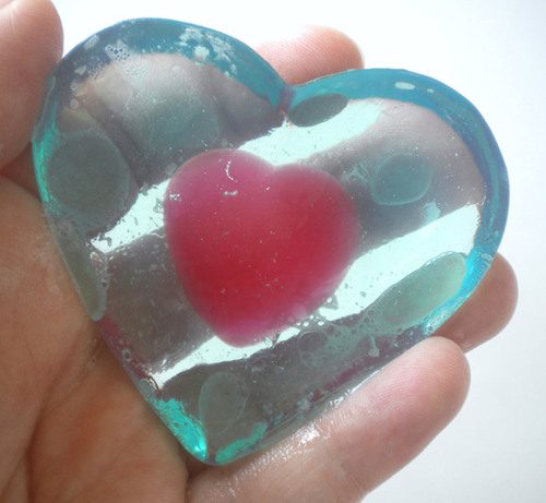 themanipulateddead:  Legend of Zelda Heart Container soap, made with glycerin, natural oils and lots of love and affection. Beautiful soap from etsy seller here!