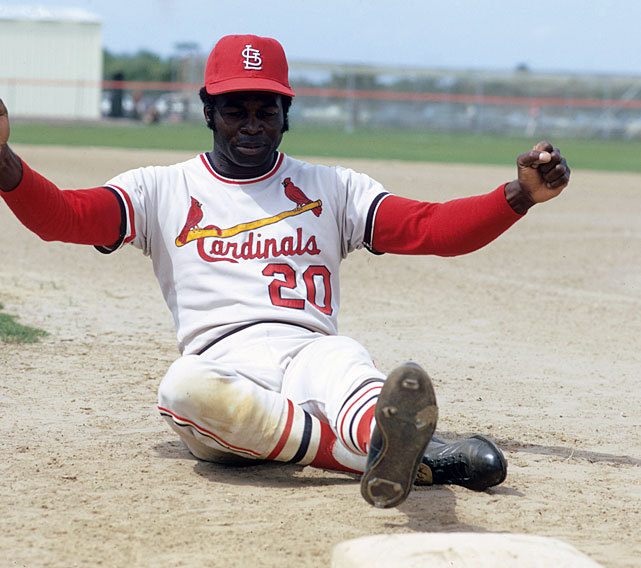 Lou Brock works on his sliding during a drill at Cardinals spring training in 1970. (Dick Raphael/SI) GALLERY: Classic Photos of the St. Louis Cardinals  | The 3,000 Hit Club