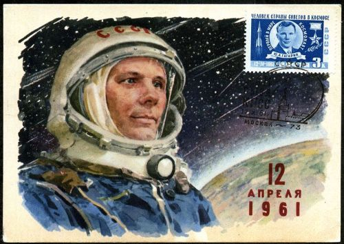 relishinrussia:  Postcard commemorating the first man in space, Yuri Gagarin.