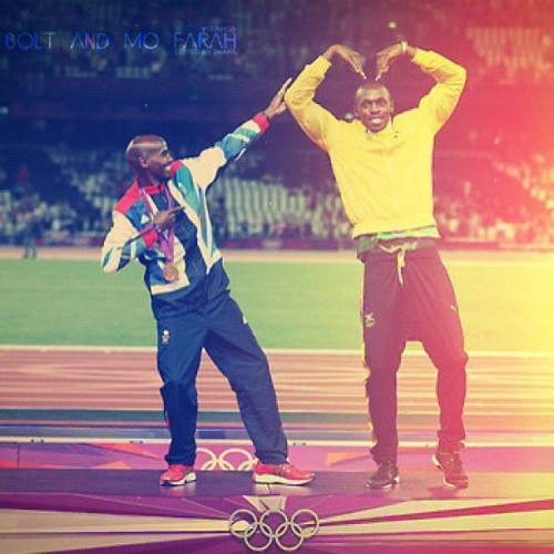 callmestitch:  Best photo in the whole of the Olympics! #bolt #mofarah (Taken with Instagram)