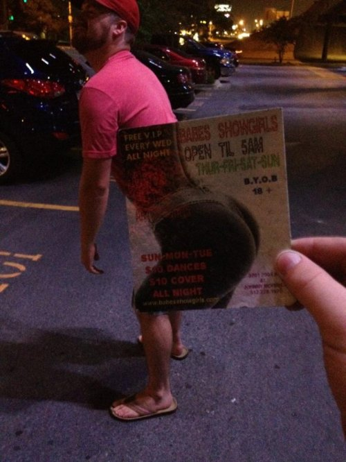 Guy Aligns Body with Strip Club Ad Have you lost weight?