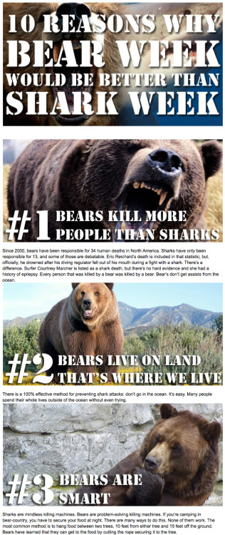 10 Reasons Why Bear Week Would Be Better Than Shark Week [Click to continue reading]