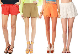 The weather is cooling down so break out your shorts while you still can! If you're tired of the same old style, try something new by wearing this new trend: scalloped shorts! It's the perfect combination of stylish, feminine and comfortable. It flatters any body type so no one should be afraid to try them on! Pair them with your favorite sheer blouse or you could always grunge it up with a classic vintage tee! How do you feel about this pretty twist on shorts?